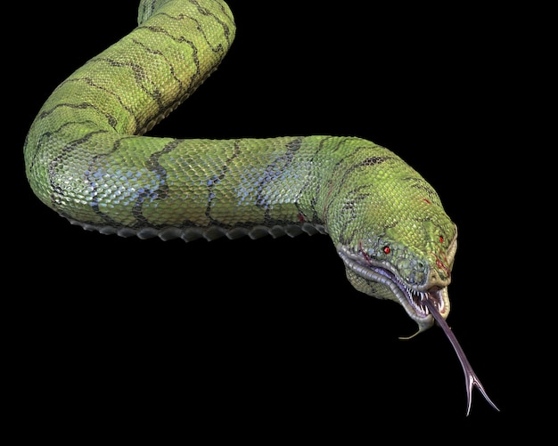 Un gros serpent vert en colère. rendu 3d
