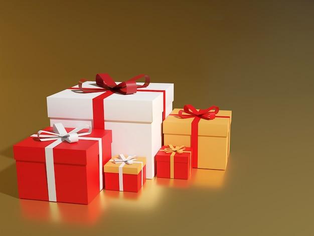Gros tas de coffrets cadeaux emballés colorés. beaucoup de cadeaux, rendu 3d.