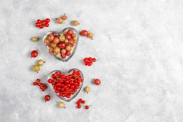 Groseilles à maquereau fraîches biologiques et groseilles rouges dans des bols