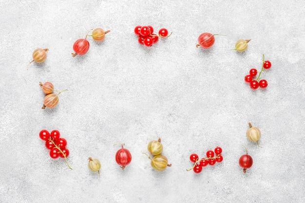 Groseilles à maquereau et groseilles rouges fraîches biologiques dans des bols