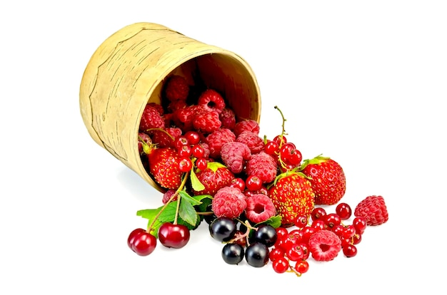 Groseilles rouges et noires, framboises, fraises, cerises aux feuilles vertes dans un bol