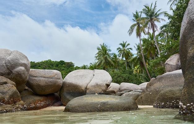 Grosses pierres dans l'eau. ko tao. thaïlande.