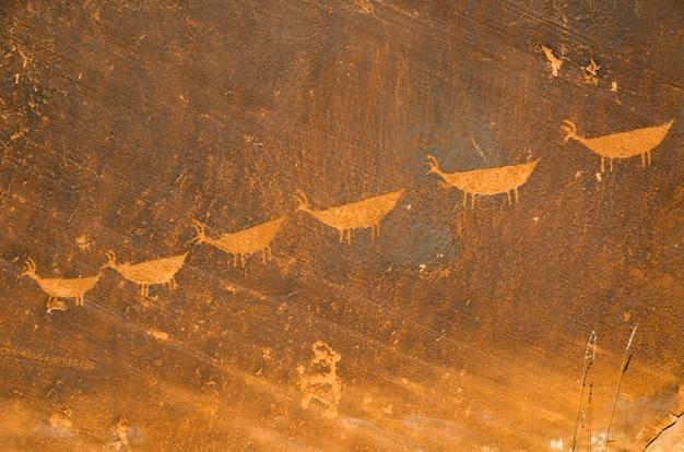 Grotte, peinture, sur, a, rocher, parc national récréation glen canyon, arizona