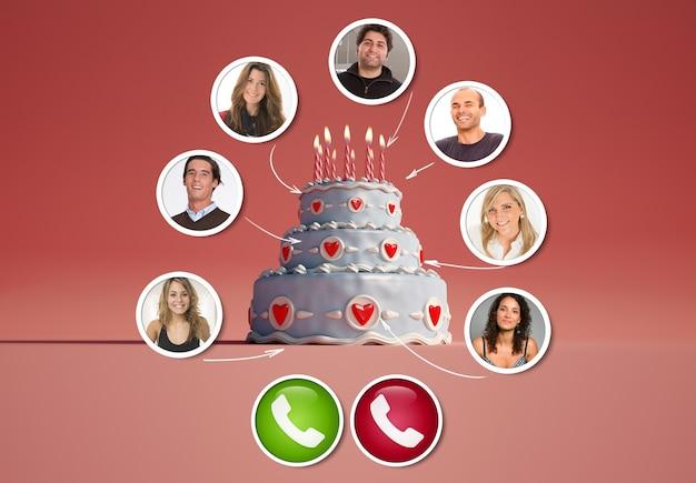 Un groupe d'amis dans un appel vidéo autour d'un rendu 3d de gâteau d'anniversaire
