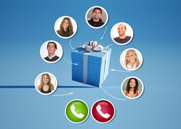 Un groupe d'amis dans un appel vidéo autour d'un rendu 3d présent