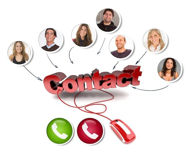 Un groupe d'amis dans un appel vidéo avec le mot contact