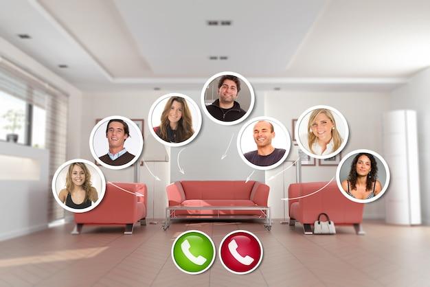 Un groupe d'amis dans un appel vidéo avec un salon en arrière-plan