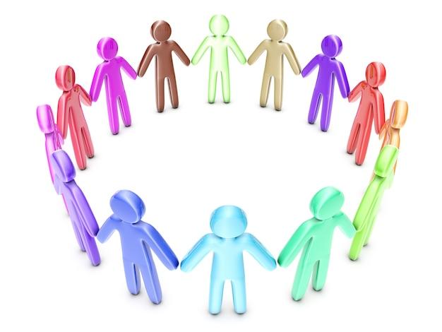 Un groupe d'amis diversifiés et multiethniques.