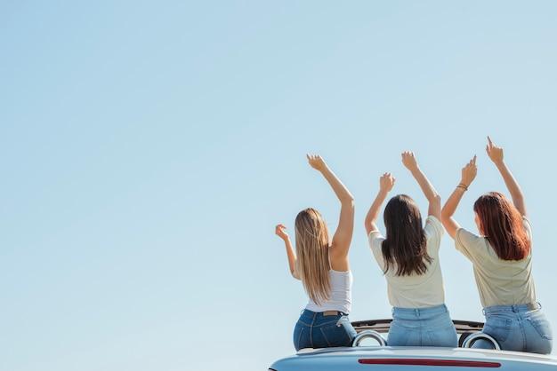 Groupe d'amis faisant un road trip