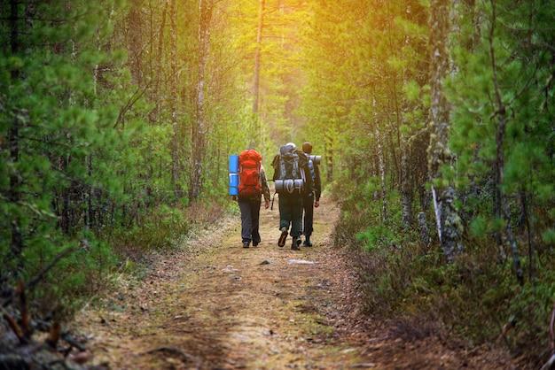 Groupe d'amis marchant avec des sacs à dos au coucher du soleil à l'arrière.