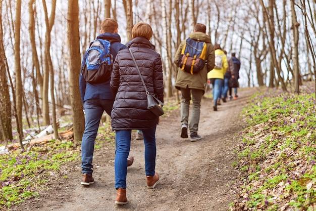 Groupe d'amis marchant avec des sacs à dos dans la forêt de printemps de l'arrière