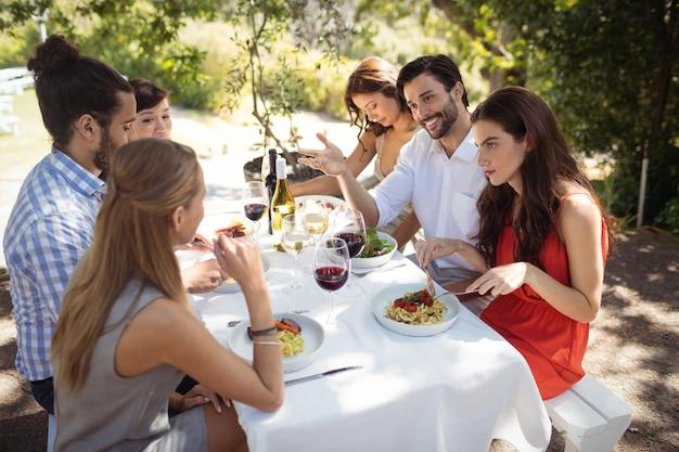 Groupe d'amis en train de déjeuner