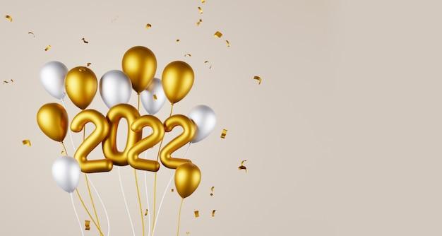 Groupe de ballon et 2022 année et espace de copie rendu 3d