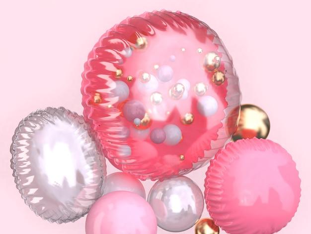 Groupe de ballon brillant rose clair flottant rendu 3d