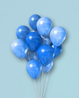 Groupe de ballons à air cyan isolé sur fond bleu clair. rendu d'illustration 3d