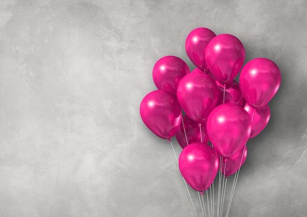 Groupe de ballons à air rose sur une bannière de mur en béton léger. rendu d'illustration 3d