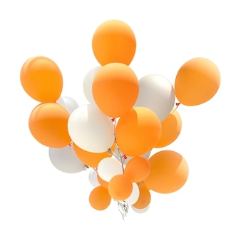 Groupe de ballons de couleur orange et blanche pour la décoration lors de célébrations