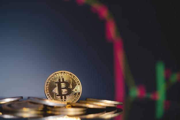 Le groupe bitcoin btc comprenait la crypto-monnaie et la tendance à la baisse du chandelier graphique boursier perdre des actions