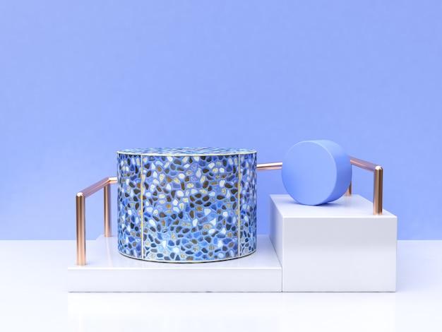 Groupe bleu abstrait géométrique forme rendu 3d