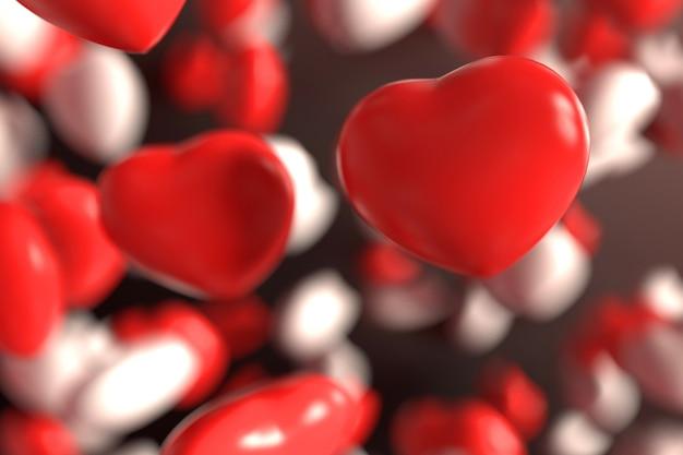 Groupe de bonbons rouges et blancs coeur saint-valentin flottant