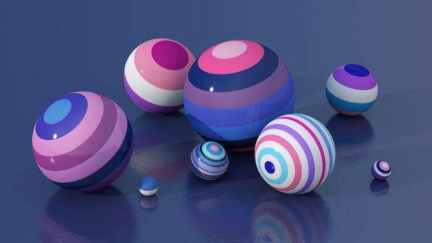 Groupe de boules brillantes colorées. illustration abstraite, rendu 3d.