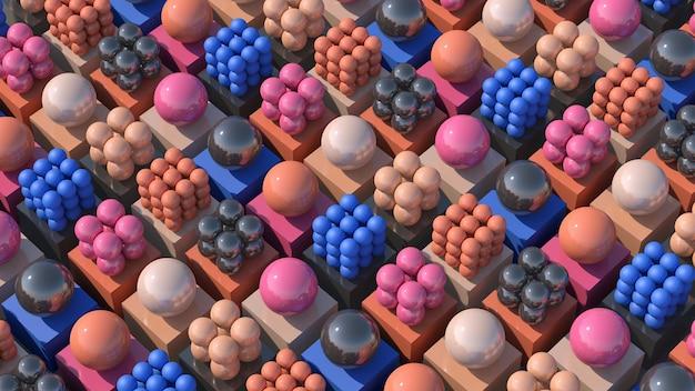 Groupe de boules et cubes roses, oranges, gris, bleus. illustration abstraite, rendu 3d.