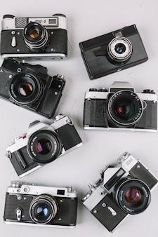 Groupe de caméras professionnelles avec vue de dessus