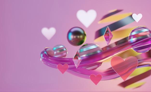 Un groupe de cœur et d'objets abstraits flotte sur une lumière de studio rose tendre