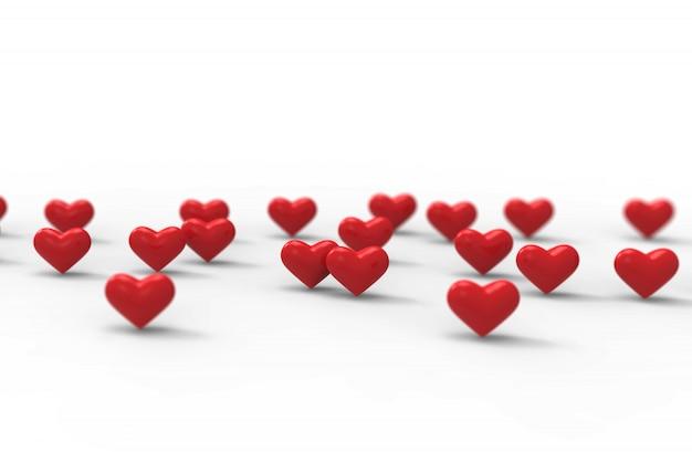 Groupe de coeurs de la saint-valentin sur fond blanc. rendu 3d.