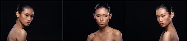 Groupe de collage de belle femme bronzée à la peau propre enveloppée de cheveux noirs avec une belle pose, un sourire d'épaule ouverte, un éclairage de studio, un espace de copie sur fond noir, des filles asiatiques avec un coeur d'amour de visage d'oeil de mode