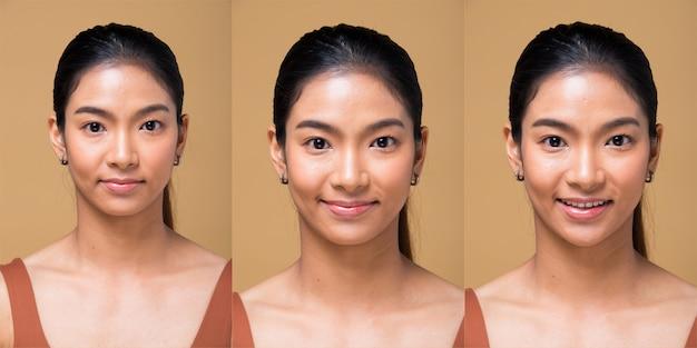 Groupe de collage pack asian woman après avoir appliqué le maquillage enveloppé de style de cheveux. pas de retouche, visage frais avec acné, lèvres, yeux, joue, belle peau lisse. studio éclairage fond jaune moutarde beige