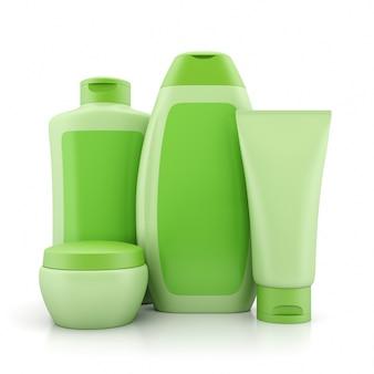 Groupe de contenants de cosmétiques verts