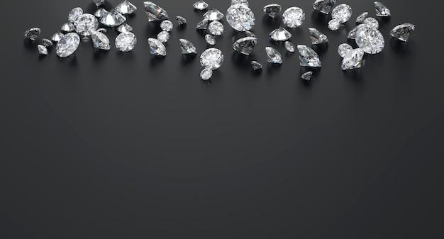 Groupe de diamant placé sur fond noir avec le rendu 3d de l'espace de copie