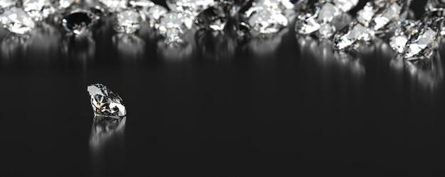 Groupe de diamants placé sur fond noir avec rendu 3d flou