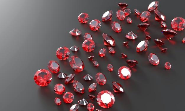 Groupe de diamants ruby gem placé sur fond sombre rendu 3d.