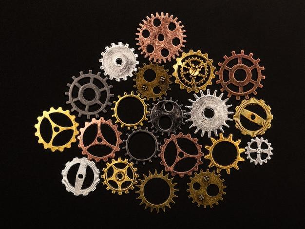 Groupe de différentes roues dentées colorées