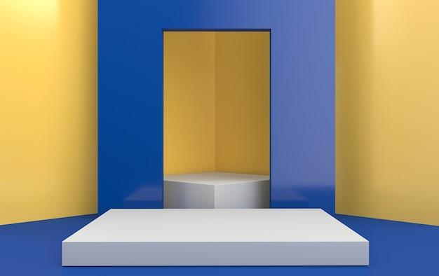 Groupe de forme géométrique abstraite définie fond studio jaune géométrique portail bleu rectangle piédestal blanc rendu 3d