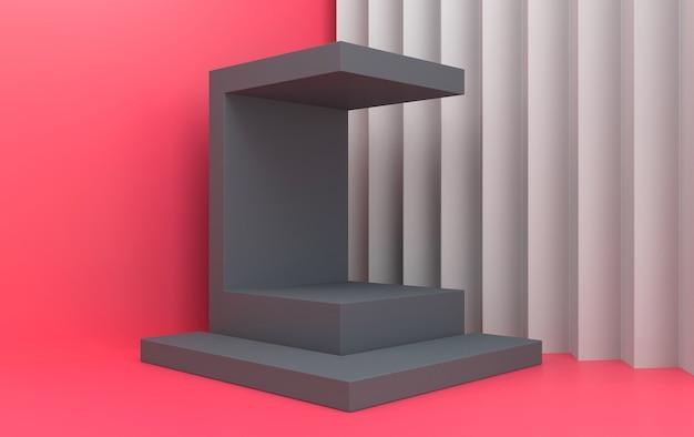 Groupe de forme géométrique abstraite mis fond studio rose rectangle piédestal gris rendu 3d