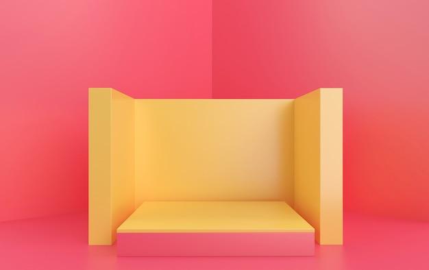 Groupe de forme géométrique abstraite mis fond studio rose rectangle piédestal jaune rendu 3d