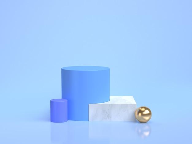 Groupe de forme géométrique de scène bleue de rendu bleu minimal défini marbre doré
