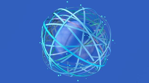 Groupe de formes de cercle bleu et sphère texturée bleue. fond bleu. illustration abstraite, rendu 3d.