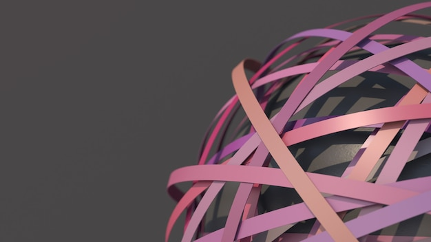 Groupe de formes de cercle coloré et rendu 3d de sphère texturée grise