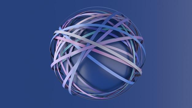 Groupe de formes de cercle coloré et sphère texturée bleue. illustration abstraite, rendu 3d.