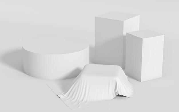 Groupe de formes géométriques abstraites mis en scène minimale, rendu 3d