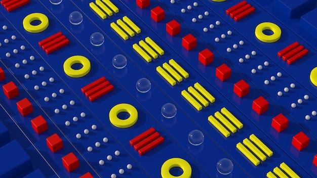 Groupe de formes géométriques rouges, jaunes, blanches. fond bleu. concept technologique. rendu 3d.