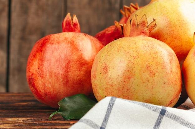 Groupe de fruits grenade close up background