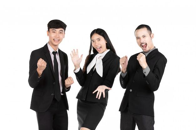 Groupe de gens d'affaires asiatiques isolés sur blanc.