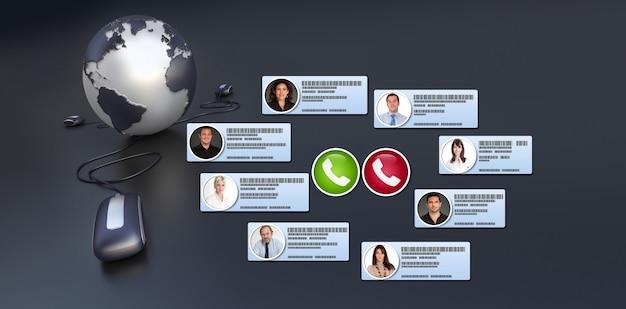Groupe de gens d'affaires ayant une réunion virtuelle internationale