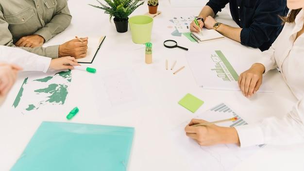 Groupe de gens d'affaires main sur un bureau blanc