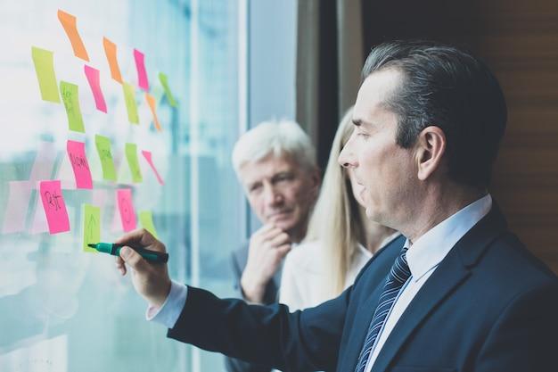 Groupe de gens d'affaires en train de réfléchir à des idées. entrepreneurs ayant une réunion permanente pour discuter du concept de solution de problème de planification de stratégie d'idées